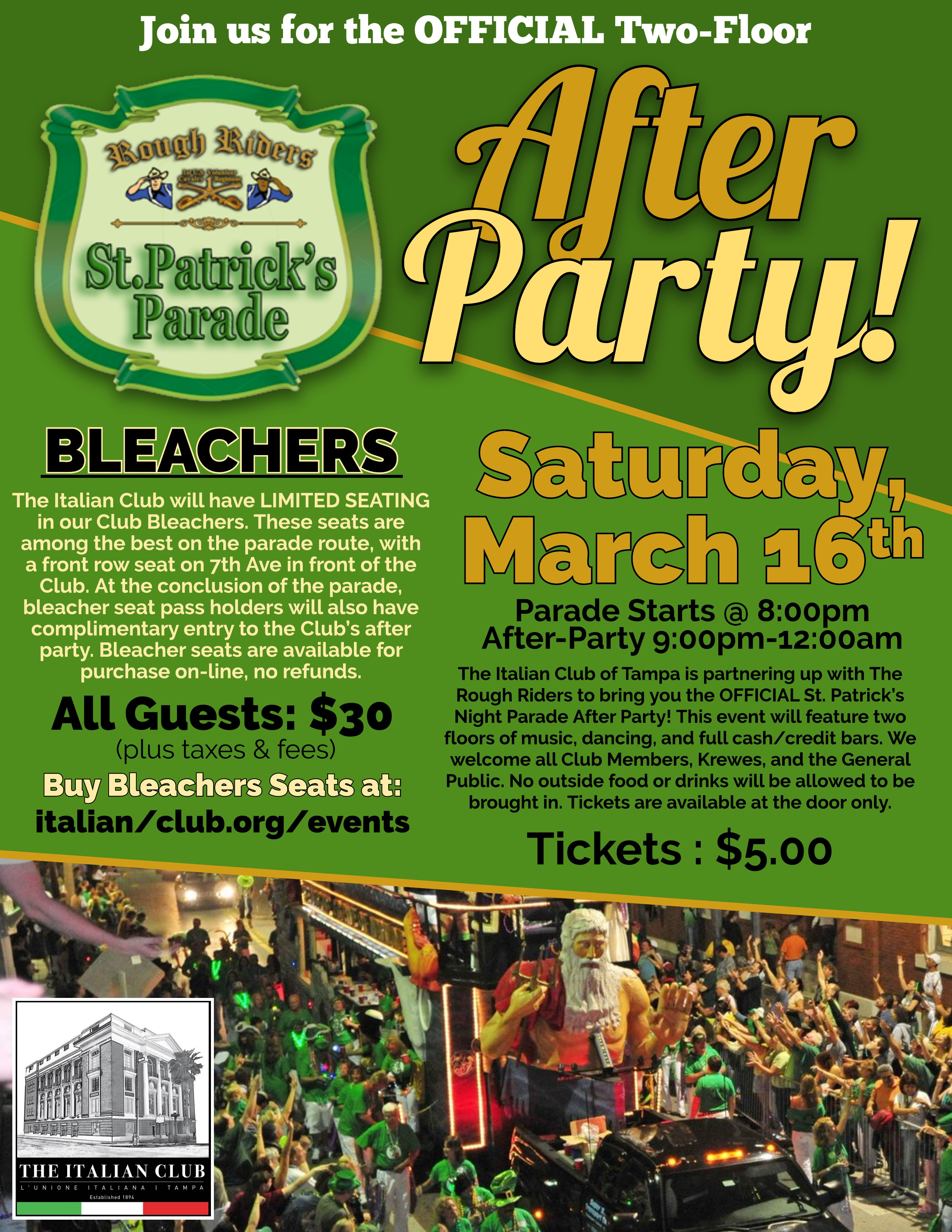 Rough Riders St. Patrick's Parade Bleachers & After Party